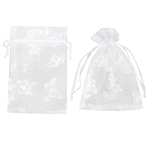 100x Pochette cadeau 15x10cm Sac Organza Blanc de Papillons Argentés bijoux dragées faveur pour mariage