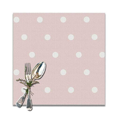 Aeykis Pink Dot FashionDecorative Polyester Placemats Set of 6 Printed Square Plate Cushion Kitchen Table Heat-Resistant Washable Dining Room Family Children 49ers-pet-set