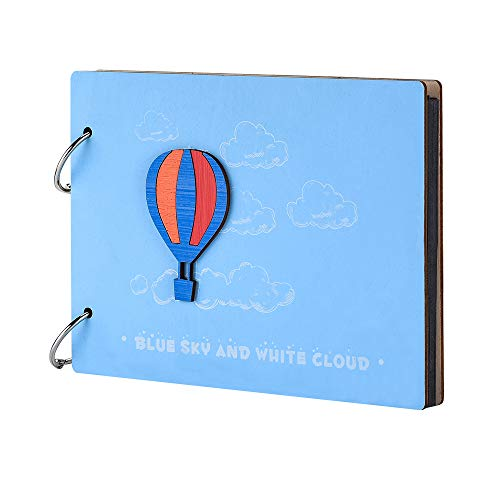 """Baby Photo Albums Wooden Scrapbook DIY Growth Album 8'' 60 Black Pages Memory Book for Valentines Anniversary Birthday with Gift Box (Hot air Balloon, 8"""" 22 × 16cm)"""