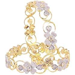 Sanara Charming Flower pattern Good Quality American diamond Bangle set jewellery (2.4)