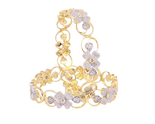 Sanara Charming Flower pattern Good Quality American diamond Bangle set jewellery (2.8)