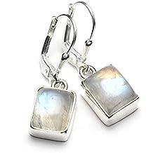 Mystic Silver - Preciosos Pendientes - Piedra natural de Piedra de luna Alta Calidad, Plata de ley 925. 29mm 5g