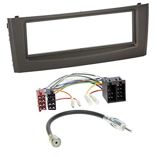 Carmedio FIAT Grande Punto 05-10 1-DIN Autoradio Einbauset in original Plug&Play Qualität mit Antennenadapter Radioanschlusskabel Zubehör und Radioblende Einbaurahmen schwarz