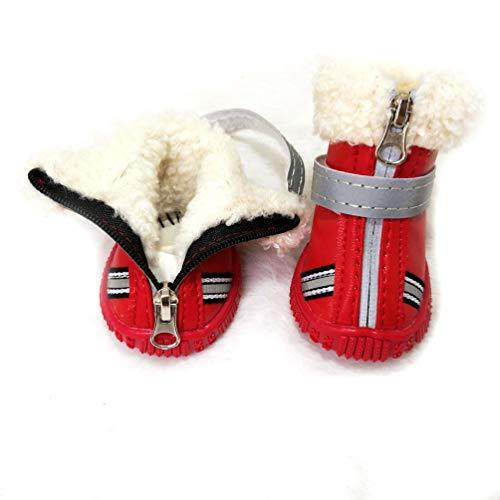 Sforza Hundestiefel, rutschfeste, wasserdichte, Reflektierende, Weiche, Bequeme, Abriebfeste Schneestiefel für Haustiere, Regenstiefel für Outdoor-Aktivitäten - Rot/S -