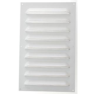 Wetterschutzgitter Lüftungsgitter Aluminium weiß 50 x 25 cm mit Fliegendraht Lamellengitter