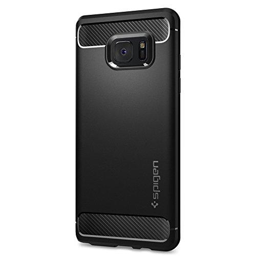 Samsung Galaxy Note FE Hülle, Spigen® [Rugged Armor] Karbon Look [Schwarz] Elastisch Stylisch Soft Flex TPU Silikon Handyhülle Schutz vor Stürzen und Stößen Schutzhülle für Galaxy Note FE Case Cover - Black (562CS20403)