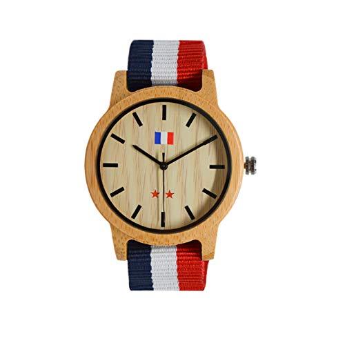 JEDDO Armbanduhr aus Holz, braun, Serie Champion der Welt, Gravur französische Flagge, Armband blau weiß rot