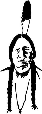 Vieilles indiennes , cow boy autocollant - 60cm Hauteur - 24cm Largeur - noir vinyle