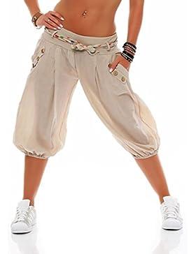 Malito Corto Bombacho Pantalón con Cinturón Baggy Aladin Boyfriend Sudadera 3416 Mujer Talla Única