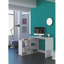 Mesa escritorio con estanteria baja. Blanca. De estudio, despacho, ordenador o dormitorio juvenil, 2 montajes