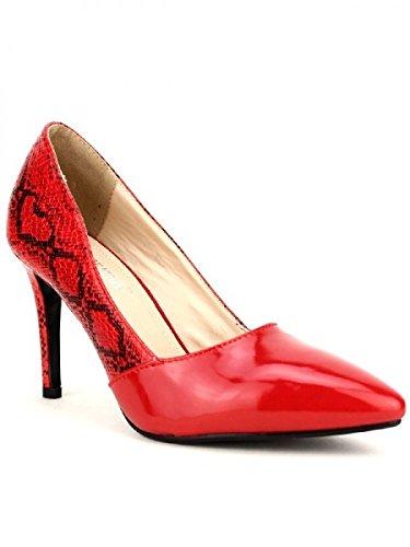 Cendriyon, Escarpin croco LUIS Reptile Chaussures Femme Rouge
