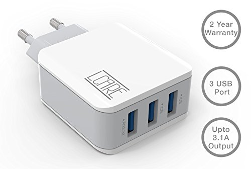 LCARE Fast Charging 3.1A Wall charger with 3 USB Port in-built Auto-detect Technology compatible with Samsung, iPhones, iPad, OnePlus, Motorola, Sony, LG, HTC, Lenovo, OPPO, Vivo, Nokia, Asus, Xiaomi, Coolpad, Micromax, Honor, Intex, Karbonn, Meizu, iBall, Lava, Huawei, Tablets, Power banks, Bluetooth speakers, Cameras and More...