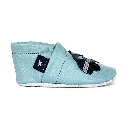 Bebê Couro Lauflernschuhe blau eu De Couro Com Polícia Hellblau Sapatos Sapatos Pantau Rastejando wP8FtS