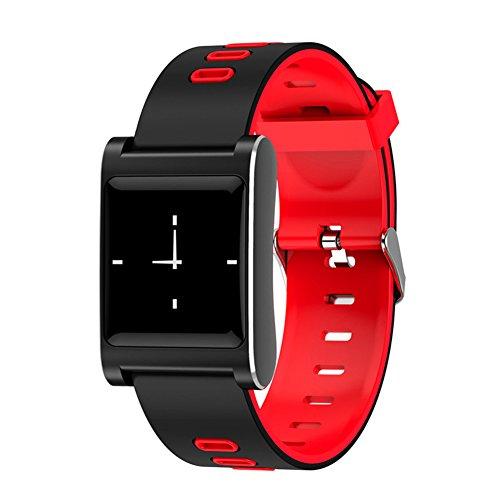 Hinmay suivi d'activité Smart Watch, IP68étanche Fitness tracker montre avec moniteur de fréquence cardiaque Compteur montre Chronomètre avec GPS connecté Relax, Bluetooth podomètre pour Android IOS, red