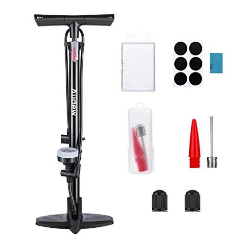 Audew Hochdruck Standpumpe Fahrradpumpe 230Psi Luftpumpe für Fahrrad und für Luftmatratze Autoventil Adapter Standluftpumpe Reversible Presta und Schrader inkl. Reparaturwerkzeuge und aufblasbarem Kit