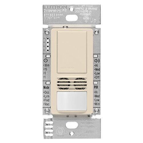Lutron MS-A102-LA Maestro Dual Tech Occupancy Sensor Switch, no neutral required, 6 Amp Single-Pole, Light Almond by Lutron -