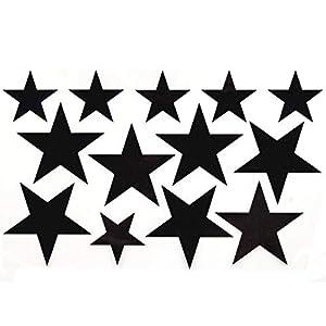 Bügelbild, Motiv: Sterne, Farbe: schwarz-regenbogen, Setgröße: groß, heißsiegelfähige Flexfolie