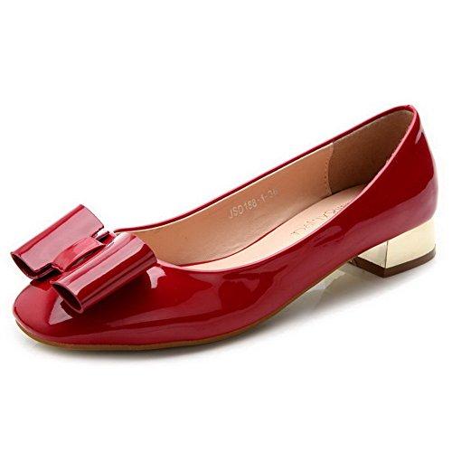 AalarDom Femme à Talon Bas Verni Matière Souple Tire Couleur Unie Carré Chaussures Légeres Rouge-Nœuds à Deux Boucles