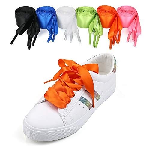 6 paia di scarpe da ginnastica in raso Lacci larghi per donne, ragazze, bambini e adulti Sport impermeabili Lacci da corsa Scarponi da tennis Sneakers da ginnastica in raso per scarpe sportive