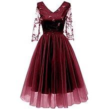 3343558f72ac Bright Deer Damen Besticktes Abendkleid Tüll-Ballkleid mit 3D-Blumenspitze