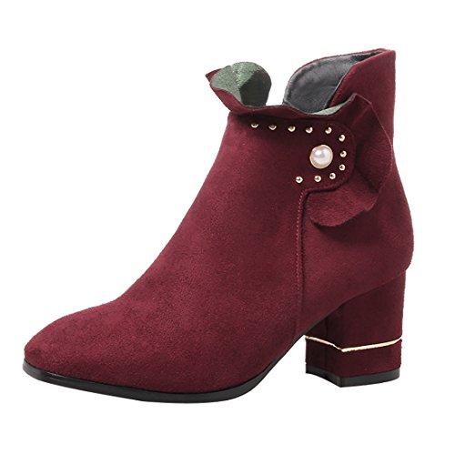 Avec Uh A Moyen Et Fleur Chaussures Elegantes Femmes Cm Bordeaux R0qZYzZX