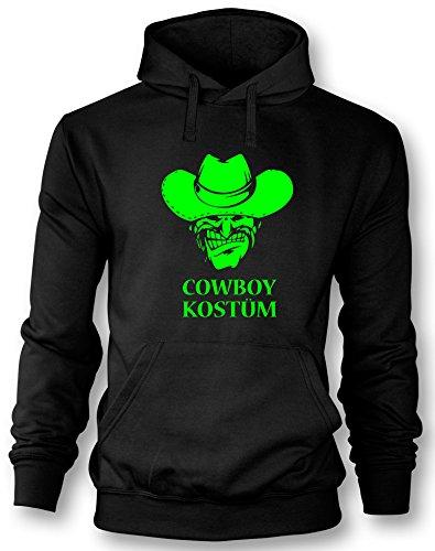 Cowboy Kostüm - Herren Hoodie Schwarz - Neongrün in Größe (Kostüme Revolverheld Western)