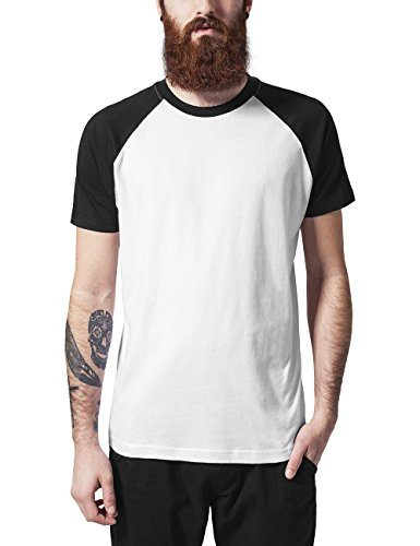 Kurzarm Raglan T-shirt (Urban Classics TB639 Herren T-Shirt Raglan Contrast Tee, Mehrfarbig (Wht/Blk 224), XX-Large)