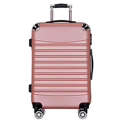HIZLJJ Erweiterbar Carry cn Luggage Travel Bag Trolley Koffer mit Spinner-Rädern Leichtes und langlebiges Reisegepäck, Business Wrap-Around-Trolley (Color : Pink, Size : S)