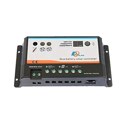 Regulador solar 20A DUO para 2 baterías independientes 12V/24VEste regulador solar DUAL es un avanzado controlador para dos baterías muy adecuado para caravanas y barcos. Puede cardar dos bancos de baterías independientes y aisladas al mismo tiempo u...