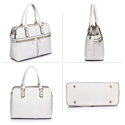 334f321dcdc07 Handtaschen 250 Tasche Groß Berühmtheit Damen Fächer Weiß Tragetaschen  Cream LeahWard® 3 Stil nett wx16qZUX