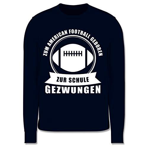 Sport Kind - Zum American Football geboren. Zur Schule gezwungen - 3-4 Jahre (104) - Navy Blau - JH030K - Kinder Pullover (Sb Spiel H)