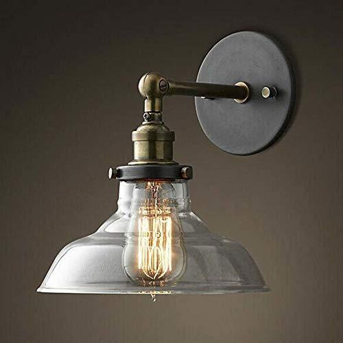 Wandleuchte Schüssel mit klarem Glas Schatten Mini Wandleuchte Die klassische Retro Vintage Industrial Single Light - Glas Schüssel-schatten