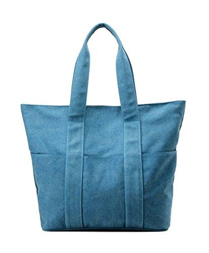 Keshi Leinwand Cool Damen Handtaschen, Hobo-Bags, Schultertaschen, Beutel, Beuteltaschen, Trend-Bags, Velours, Veloursleder, Wildleder, Tasche See blau