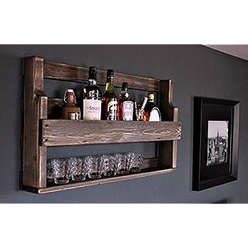 Whisky Regal aus Holz – mit Gläserhalter – Braun – Industrie Stil – fertig montiert – Wandbar – Whisky-Regal aus Holz