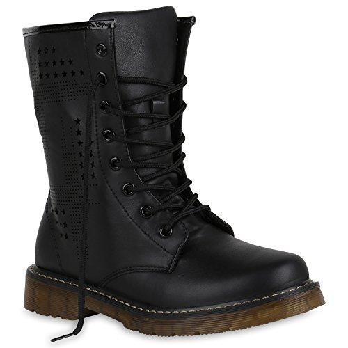 Geschnürte Herren Worker Boots Profil Sohle Stiefel Stiefeletten Schwarz Total