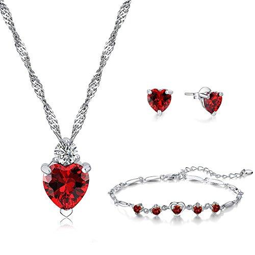erz Anhänger Halskette Rot Kristall und Ohrstecker Ohrringe und Armband für Damen Mutter kleines Mädchen Teenager - Schmuck Zubehör Geschenk 925 Sterling Silber ()