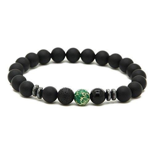 GOOD.designs Chakra Perlenarmband aus Onyx und Lavastein Natursteinperlen, Energiearmband mit bunter Jaspis Perle, Yoga-Armband für Damen und Herren (Grün Marmor)