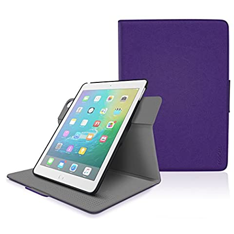 iPad Air 2 Case - roocase Orb System Folio 360 Dual View Leather Case Smart Cover with Sleep / Wake Feature for Apple iPad Air 1 / Air 2, Purple - Patented Complete Lifestyle