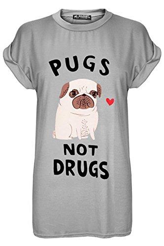 Damen Pugs Not Drugs Herz Aufdruck Dehnbar Baggy Übergröße Shorts Gekrempelt Kappe Hülse T Shirt Spitze Grau