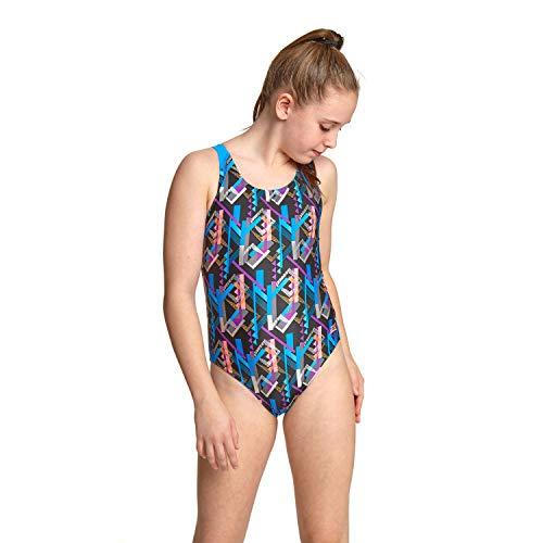 Zoggs Mädchen Shimmer Flyback Badeanzug, Schwarz/Mehrfarbig, 32 UK, 152cm, 12 Years