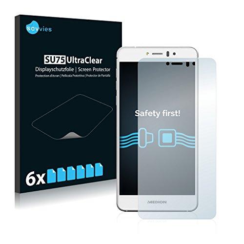 Savvies Schutzfolie kompatibel mit Medion Life X5004 (MD 99238) [6er Pack] - klarer Bildschirmschutz