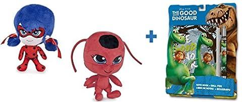"""Miraculous, les aventures de Ladybug et Chat Noir: Assortiment de 2 Peluches: LADYBUG et TIKKI 7,48""""/19cm + Set scolaire Le voyage d"""