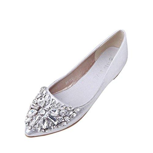 FEITONG Damen Ballerinas | Bequeme Slip-Ons | Spitze Flache Schuhe | Strass Freizeit Flache Schuhe (EU:40, Silber)