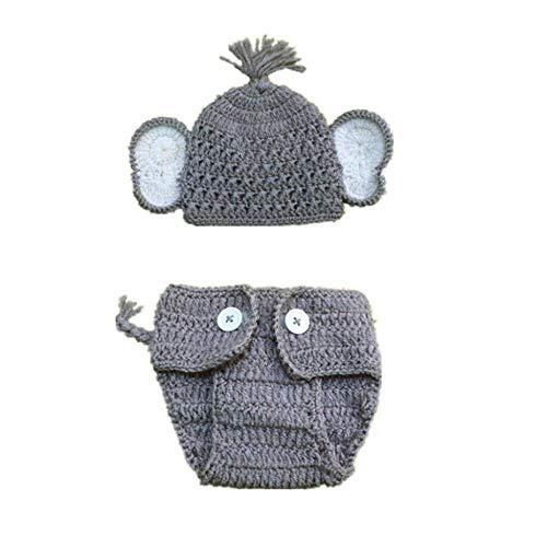 Wddqzf Dekoration Statuen Für Baby 2 Stücke Neugeborenen Stretchy Knit Foto Baby Hut + Shorts Kostüm Fotografie Requisiten (B), B (Mensch Und Hund Kostüm Ideen)