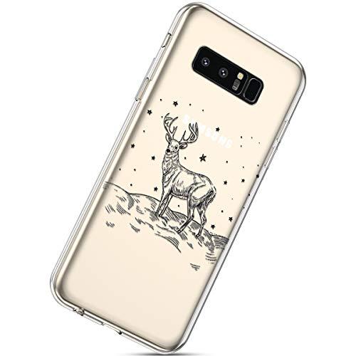 Handytasche Samsung Galaxy Note 8 Crystal Clear Durchsichtige Hülle Ultradünn Transparent Handyhüllen TPU Bumper Case Silikon Hülle Cover,Weihnachten Elch