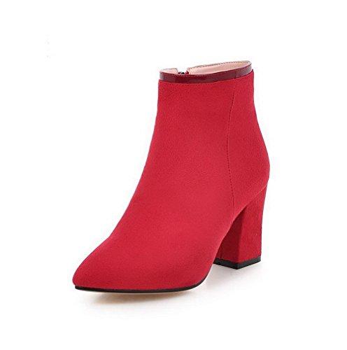 AgooLar Damen Niedrig-Spitze Reißverschluss Hoher Absatz Spitz Zehe Stiefel, Rot, 39