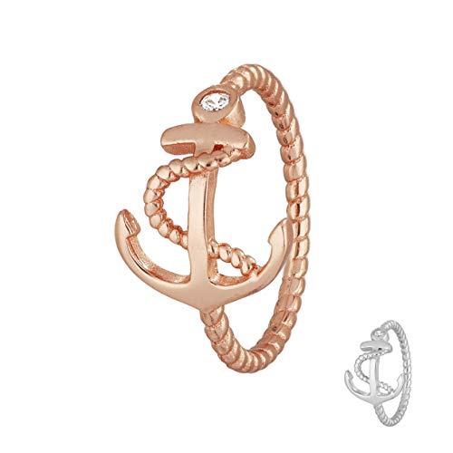 Treuheld® | 925 Silber Ring mit Anker und KRISTALL - Strass Damen-Ring mit Zirkonia - Sterling - Kristall Schmuck maritim in Silber oder Rose-Gold in 8 Größen Rosegold 62