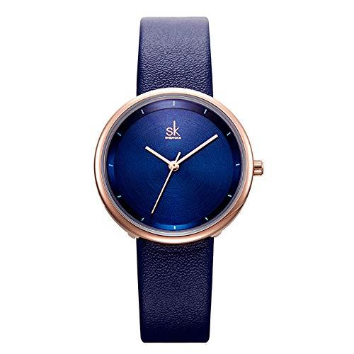 WOFEIYL Sehen Sie Quartz Watch Fashion Belt Matte Ladies Watch Rose Gold Sun Pattern,Blue