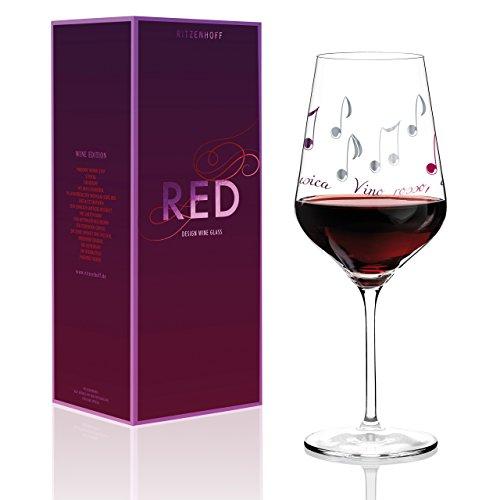Ritzenhoff Red Rotweinglas von Angela Schiewer, aus Kristallglas, 580 ml, mit Edlen Platinanteilen