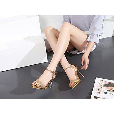 LvYuan Da donna Sandali Comoda Cinturino alla caviglia Finta pelle Estate Formale Comoda Cinturino alla caviglia Lustrini A stiletto Oro Argento Gold